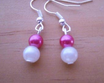 Wedding earrings Pearl fuchsia and white