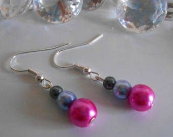 Trendy fuchsia gray and lavender wedding earrings