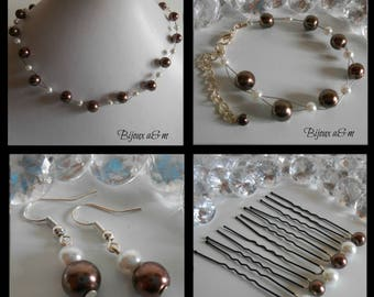 Set of 4 wedding pieces twist of Brown and white beads