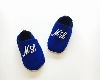 Monogrammed Blue Baby Shoes, White 2 Letters Monogram, Personalized Baby Shoes, Custom Baby Slippers, Non-Slip Sole, Slip-On, Stay-On Bootie