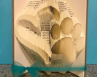 paw print with heart folded book- love - fur baby- pets - dog - cat- christmas