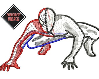 Spiderman Red and Blanck in Application Embroidery of 2 size  design digital download