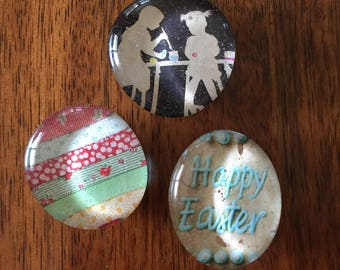 Easter set of three glass marble magnets