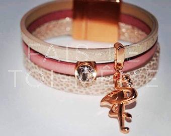 """DIY"" Kit easy leather cuff bracelet light pink, primula and beige Crackle + Flamingo and Swarovski Crystal"
