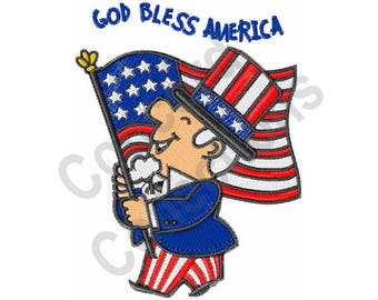 God Bless America - Machine Embroidery Design, Patriotic, America, American Flag