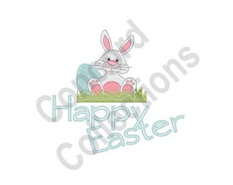 Happy Easter - Machine Embroidery Design, Easter, Easter Bunny