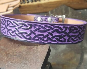 Leather dog collar, Celtic Design, Purple and Black, Dog collar,