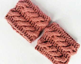 Pink cable boot cuffs, doc marten boot cuffs, knitted boot cuffs, welly cuffs, boot socks, knit boot cuffs, bohemian boot cuffs, gift ideas
