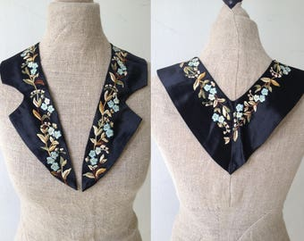 Antique Edwardian Arts and Crafts Art Nouveau satin embroidered collar for dress coat or blouse