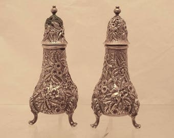 S. Kirk & Son Sterling Salt and Pepper Shakers Repousse With Finial