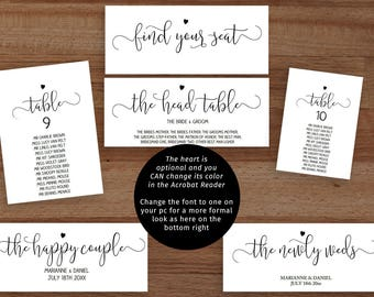 Printable wedding seating chart set, individual table plans, 5x7 and 6x4 inches, find your seat header signs 3.5 x 9 inches