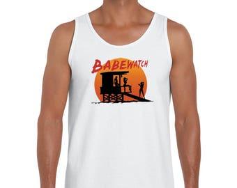 BABEWATCH, Bay Watch Lifeguard Tower, Summer Beach Design Funny Men's Fashion Tank Top