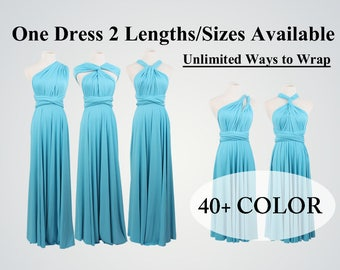 Turquoise bridesmaid dress, teal bridesmaid dress, Tiffany Blue dress,convertible wrap dress, formal dress,short multi wear dress,twist wrap