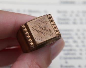 Antique Bulgarian Ring , Vintage Bulgarian ring, Vintage jewellery , Antique bronze ring, Men ring