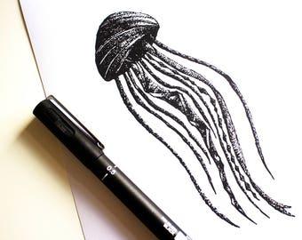 Jellyfish, Geometric, Stippling Black And White Ink Drawing, Giclee Print