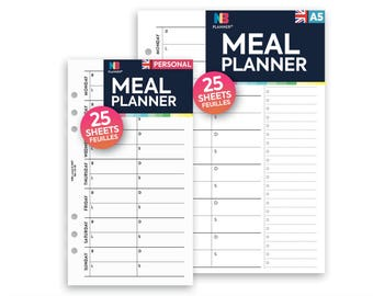 PRINTED Meal planner Insert A5 / Personal Filofax A5 Kikki.K Large Compatible Refill Coloured
