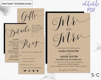 Rustic Wedding Invitation Template, Country Wedding, Barn Wedding, Country Invitation, Mrs and Mrs Invite, Printable Invitation, Cheap