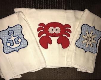 Embroidered Nautical burp cloth set, baby shower gift bundle