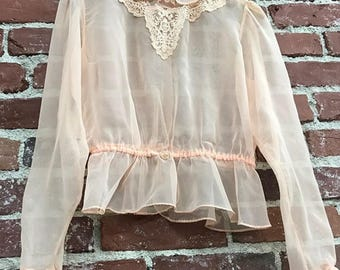 Vintage Seventies 1970s Sheer Victorian Blouse Size Small to Extra Small