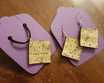 Decorated cork sets, earrings + necklace