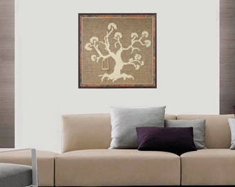 Wool decor, Wall hanging picture, Embroider picture, Burlap wall decor, Wool tree wall decor, Wool picture, Wall art, Wall decor, Wool art