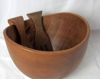 "ON SALE Vintage Teak Salad Bowl With Tongs Fork and Spoon 9.5"" Wide Brown Wood Mid Century"