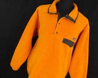 ON SALE Vintage Patagonia Synchilla T Snap Fleece Jacket Pullover Mens L Large Yellow Orange Moss Green Pocket Logo L/S