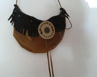 Shoulder bag, pouch in hand, country, hippie Bohemian fringed faux camel skin upycling made hand