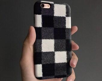 Checkers iPhone 8 case, iPhone X case iPhone 7 case, iPhone 6s case, iPhone 6 plus case, tough case, black white T293B
