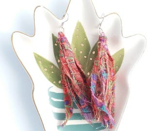 Red Kaffe Fassett earring, tassel, cotton, dangle earrings, stainless steel fishhook earwire, repurposed, extra long