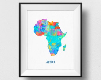 Africa Map Print, Map of Africa Wall Art, African Map, Watercolour Africa Map Print, Colorful Africa Map Poster, Nursery African Decor (717)