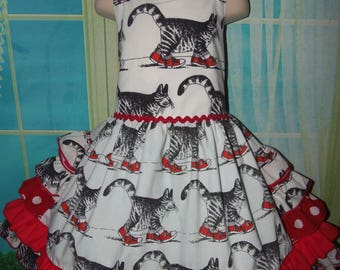 Vintage  Recycling fabric  B. Kliban Tabby Cat in Sneakers Ruffles  Dress Size 5t/6  26in length Ready to Ship