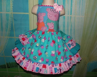 Patchwork Peppa Pig Family  Birthday, Tea Party Fairy tale Dress    Size 2t/3t Ready to ship(see option)