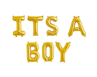 "ITS A BOY Letter Balloons | 16"" Gold Letter Balloons 
