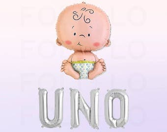UNO Balloon | Baby Celebration | First Birthday Balloons | Baby Birthday Party Decoration | Cute Baby Decor | Silver Letter Balloons