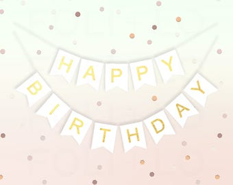 WHITE and GOLD Birthday Banner | White Birthday Party Decoration | Gold Birthday Decoration | Any-Age Birthday Banner | Gold Foil Lettering