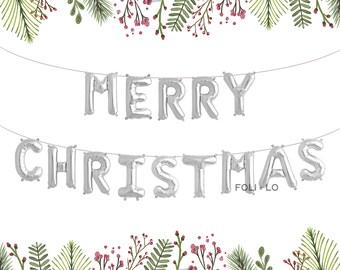 Merry Christmas Balloons | Christmas Letter Balloons | Merry Christmas Decoration | Christmas Party Decoration | Silver Christmas Balloons