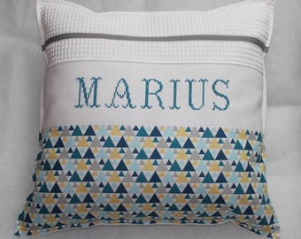 Hand embroidered pillow cover / honeycomb / geometric / blue sleigh anise