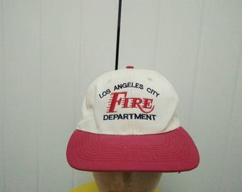 Rare Vintage LOS ANGELES CITY Fire Department Embroidered Cap Hat Free size fit all