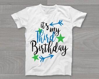 It's My Third Birthday Boys Kids T-Shirt, Childrens Toddlers T Shirt Top.