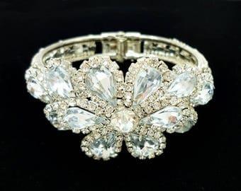 Vintage Rhinestone Clamper Bracelet, Rhinestone Hinge Bracelet, Statement Bracelet, Bridal Bracelet Cuff, Flower Bracelet, Wedding Bling