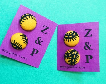 African Print Earrings // Yellow and Black Wax Print Earrings // Stud Earrings // Button Earrings