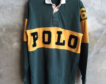 Vintage Polo Ralph Lauren Spell Out Rugby Shirt Size XL