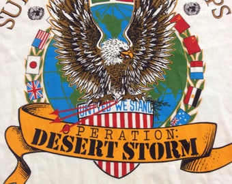 Vintage 90s Desert Storm operation desert shield military armed forces USA eagle veteran tee double sided t-shirt size XL