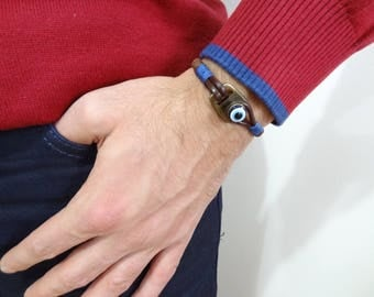 EXPRESS SHIPPING,Men's Evil Eye Bracelet,Brown Leather Bracelet,Protection Bracelet,Mens Jewelry,Evil Eye Hook,Cuff Bracelet,Christmas Gifts