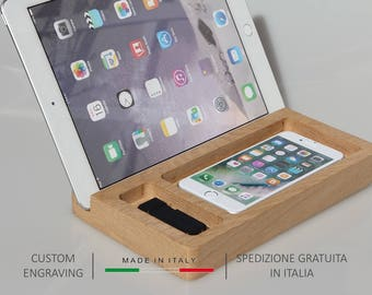 Docking station,Wooden Desk organizer,Catchall tray,iPad stand,Personalized gift,Docking station,Desk organiser,Gift for her,Gift for him