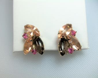 Vintage Gold Tone Prong Set Open Back Pink and Smoke Gray Rhinestone Clip Earrings