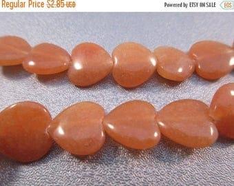 ON SALE 15% OFF Peach Aventurine Heart Beads 35pcs