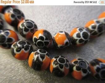 ON SALE 15% OFF Chevron Round Orange Beads 65pcs