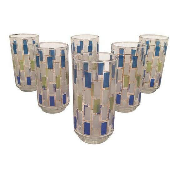 Beautiful 70's set of 6 Mid-Century Highball drinking glasses